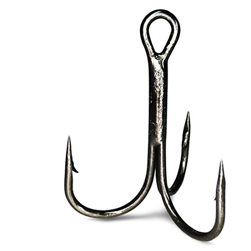 YOTO 30 Pack Treble Hooks, High Carbon Steel Strong Sharp Round Bend Fish Hooks for Freshwater Saltwater, Size #1-3/0,2# Black