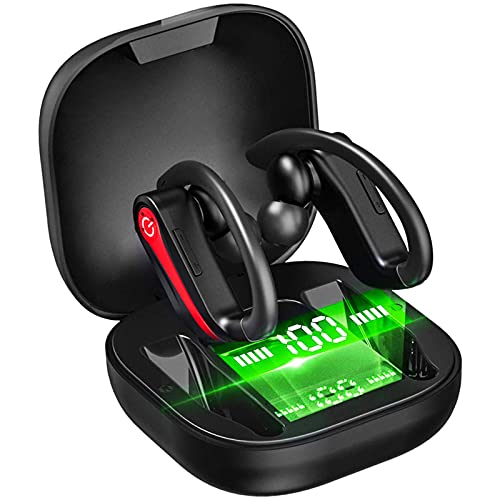 Wireless Earbuds Sport Bluetooth Headphones Bluetooth 5.1 Earbuds in Ear Deep Bass with Noise Cancelling Mic, Headset with Smart LED Display IP7 Waterproof 40H Playtime for Workout Running, Red-Black