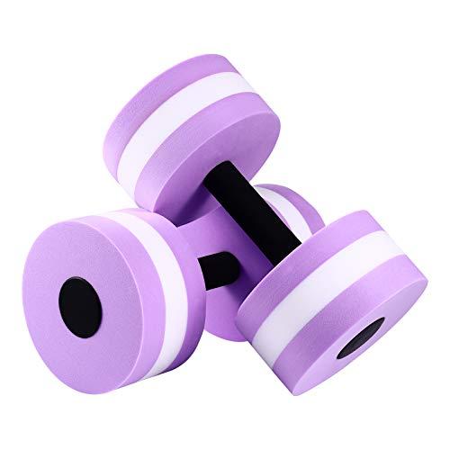 WINOMOAquatic Exercise Dumbells 2PCS EVA Water Barbells Hand Bar for Water Resistance Aerobics Weight Loss (Purple)