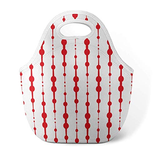 HGHGH Tragbares Bento Polka Dots Lunch Bag insulated lunch bags for Women,Men and Kids Beautiful Floral and Dots Stripe Red Dot Reusable Soft Lunch Tote for Work and School Art Print Lunch Bags Red F