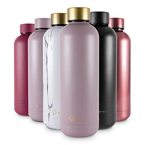REFYLL Trinkflasche Edelstahl wonderFYLL - 500ml Thermosflasche - auslaufsicher, BPA frei - isolierte Wasserflasche, doppelwandige Isolierflasche (Taupe - Deckel Gold, 500 ml)