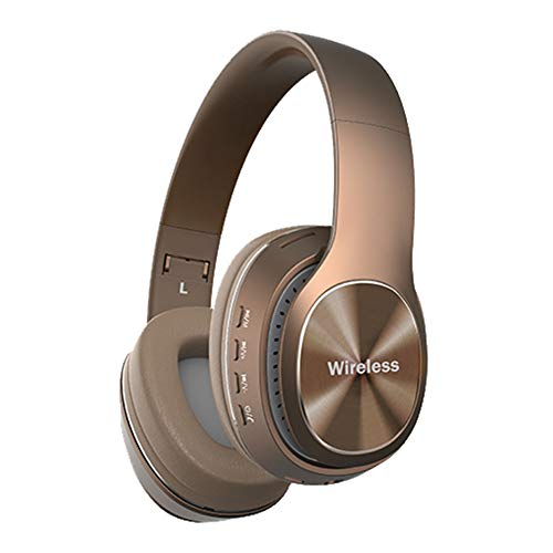 Wsaman Over Ear Wireless Bluetooth Headphones, Stereo Headset with Deep Bass Headsets Earphones Foldable with Mic and Volume Control Noise Cancellation for Airpods/Android/Gaming/PC Earbuds,Gold