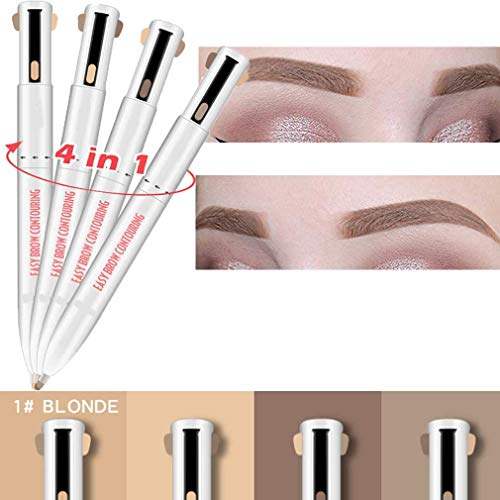 HAZUN Brow Contour Pro' 4-in-1 Defining and Highlighting Brow Pencil ,Creates Natural Looking Brows Effortlessly,Soft Blonde Brown RoseEyebrow Pencil (1#Blonde)