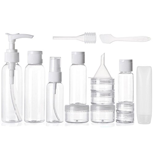 ALINK 16pcs Travel Size Toiletry Bottles Set, Tsa Approved Clear Cosmetic Makeup Liquid Containers with Zipper Bag