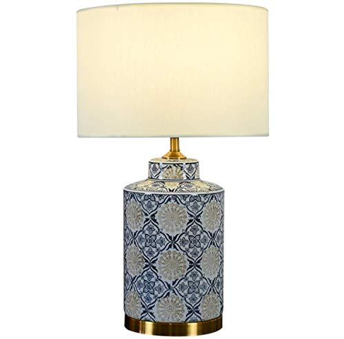 N/Z Equipo Diario Porcelana Floral Asiático Azul Lámpara de Mesa Beige Tarro Tela Pantalla de Tambor Lámpara de Escritorio para Sala de Estar Dormitorio Familiar Mesita de Noche E27