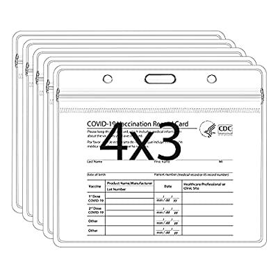 Amazon - 70% Off on Pack of 5,Card Protector,4 X 3 Inches Immunization Record Vaccination Cards Holder