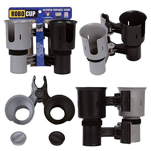 Robo Cup Becherhalter für Getränke Angelrute Pol Boot Strandkorb Golfcart Rollstuhl Rollator Trommelstöcke Mikrofon grau & schwarz