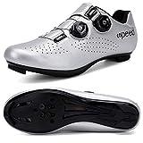 Hombres Bicicleta De Carretera Zapatos De Ciclismo Premium Microtex Zapatos Con Cleat Hombres SPD Zapatos Negro Blanco Hombres Ciclismo Spinning Zapatos, color Gris, talla 41 1/3 EU
