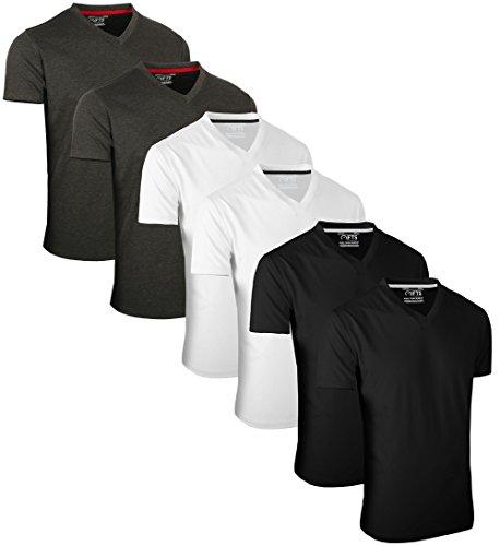 FULL TIME SPORTS 6 Pack Schwarz Weiß Schwarz T-Shirts mit V-Ausschnitt (2) Groß