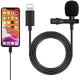 iPhone iPad マイク コンデンサーマイク クリップ式 高音質 全方向性 録音/カラオケ/撮影/YouTube動画/インタビュー/会議用 iPhone11/11 Pro/11 Pro Max/XS/XS Max/XR/X/8/8Pなど対応 (ライトニング ポート-iPhone iPad 対応)