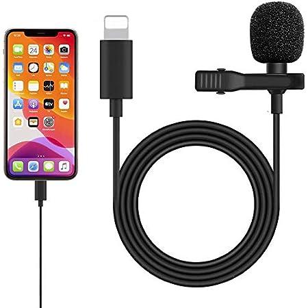 iPhone iPad マイク コンデンサーマイク 収音用マイク 収音録音だけ対応 クリップ式 高音質 全方向性 録音/カラオケ/撮影/YouTube動画/インタビュー/会議用 iPhone11/11 Pro/11 Pro Max/XS/XS Max/XR/X/8/8Pなど対応 (ライトニング ポート-iPhone iPad 対応)