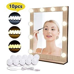 Luces para Espejo de Maquillaje LED Lámpara de Espejo Cosmético de Tocador con Estilo Hollywood 10 Piezas Bombillas…