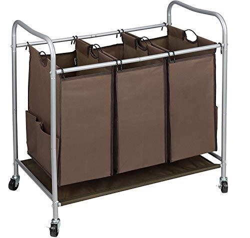 JINAMART - Cesta de lavandería resistente con ruedas y 2 bolsillos a cada lado (3 bolsas, marrón)