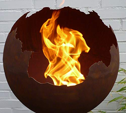 Gartendekorationen-Shop Edelrost Kugel 50cm Ø Feuerkugel Pflanzschale Feuerschale Feuerkorb Metall Rost Schale WETTERFEST & FROSTFEST