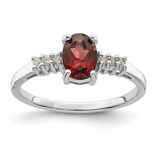 Plata de Ley rodio de granate y diamante en bruto Anillo - tamaño P 1/2 - JewelryWeb