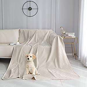 fuguitex Waterproof Dog Blanket Bed Cover Dog Crystal Velvet Fuzzy Cozy Plush Pet Blanket Throw Blanket for Couch Sofa(4060″,Cream+Sand