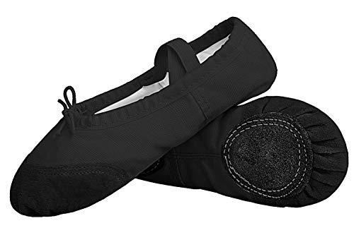 Hawiton Zapatillas de Ballet niña, para 4-7 años,clásico Elástico Canvas Calzado de Danza Elástico Profesionale Cabeza Redonda Zapatos Split de Baile y Gimnasia