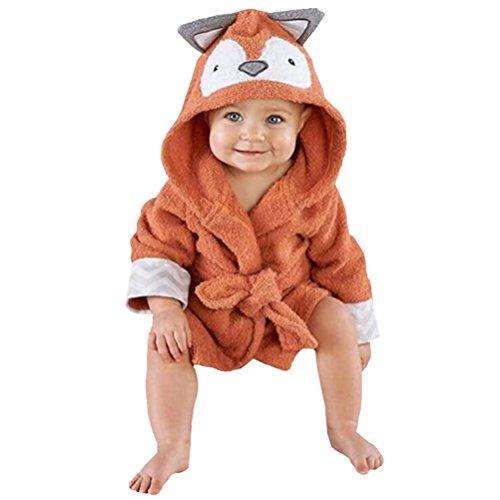 Casa - Vestaglia per Bambina, con Cappuccio per Bambini con Accappatoio, Baby Teli da Bagno con Cappuccio di Animale Volpe 110cm