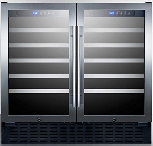 """Summit Appliance SWC3668 Commercial 36"""" Wide 68 Bottle Built-in Undercounter Dual Zone Wine Cellar with Two Seamless Stainless Steel Trimmed Glass Doors, Digital Controls, Locks and Black Cabinet"""