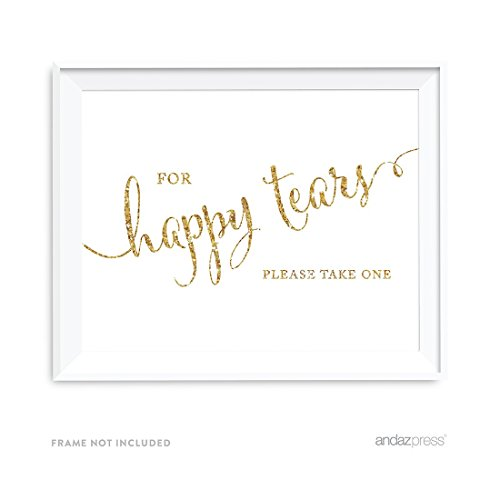 Andaz Press Wedding Party Signs, Gold Glitter Print, 8.5x11-inch, For Happy Tears Tissue Kleenex Ceremony Sign, 1-Pack, Not Real Glitter