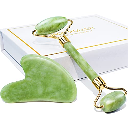 BAIMEI Jade Roller & Gua Sha Set Facial Beauty Tools, Face Roller Skin Massager for Face, Neck and Eye Treatment, Facial Roller for Skin Care Routine
