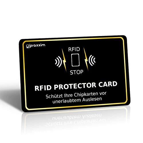 praxxim RFID Blocker Karte in schwarz/Gold – Störsender bietet RFID Schutz gegen das Auslesen von Kreditkarten – Eine RFID Karte sichert die ganze Geldbörse – Ideale Alternative zur NFC Schutzhülle