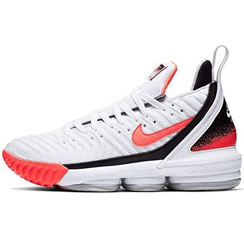 Nike Herren Lebron XVI Basketballschuhe, Wei� (Weiß/Hot Lava-Flt Silber), 45.5 EU