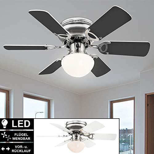 LED Decken Ventilator Flügel wendbar Wohn Zimmer Zugschalter Lampe 3 Stufen Vor-Rück-Lauf Lüfter Leuchte 76 cm