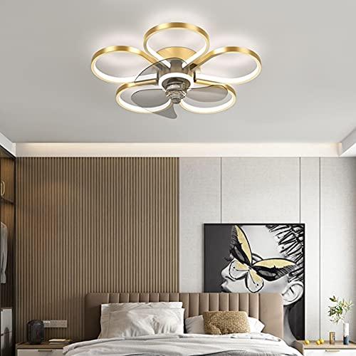 Dagea Luz de Techo LED Moderno Ventilador de Techo con Encendiendo y Control Remoto 55W Silencio Luces Colgantes por Sala de Estar Cuarto Cocina 15cm ultradelgado Atenuación Continua,Oro