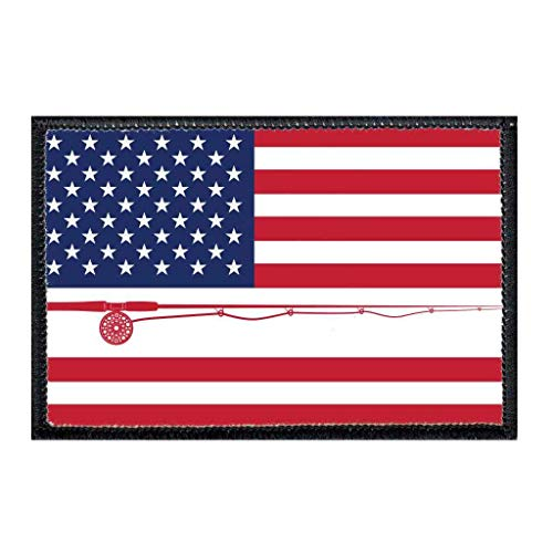 US Flag - Fly Fishing - Color Morale Patch | Hook and Loop Attach for Hats, Jeans, Vest, Coat | 2x3 in | by Pull Patch