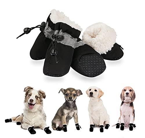YAODHAOD Pfotenschutz für Hunde,Plüsch Hundestiefel, Bequeme Atmungsaktive, rutschfeste Schuhe, Weiche Sohle mit Reflektierendem Klebeband, Geeignet für kleine Hunde(Größe 5: 5 x 4 cm L*W, Schwarz)