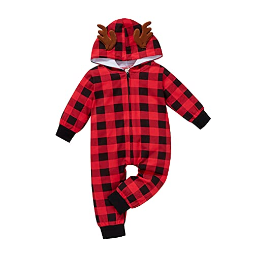 0-2 Years,SO-buts Infant Toddler Baby Boys Girls Long Sleeve Christmas Xmas Plaid Printed Cartoon Ear Hooded Romper Long Sleeve Jumpsuit Autumn Winter Clothes (Red, 6-9 Months)