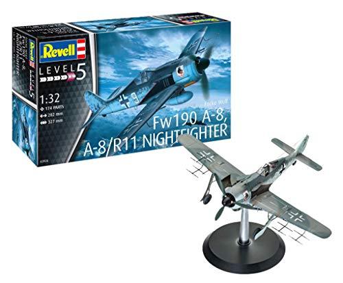 Revell 03926 03926-Modellbausatz Flugzeug Focke Wulf Fw190 A-8 Nightfighter im Maßstab 1:32, Level 5, Orginalgetreue Nachbildung mit vielen Details