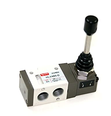 "PneumaticPlus HLV461-D, 3 Port 2 Position Air Directional Control Valve 1/4"" NPT, Hand Lever Operated (Double Detented) by PneumaticPlus"