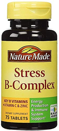 Nature Made Stress B-Complex Dietary Supplement Tablets with Vitamin C & Zinc 75 ea (Pack of 6)
