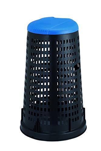 Stefanplast Trespolo con Coperchio, Nero/Blu, 53x53x87 cm