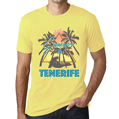One in the City Hombre Camiseta Vintage T-Shirt Gráfico Summer Triangle Tenerife Amarillo Pálido