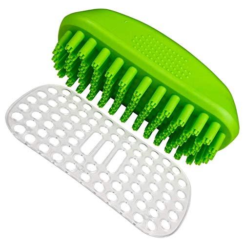 CHENMAO Cepillo de masaje de baño de mascotas Gran herramienta de aseo para champús y perros de masaje y gatos con cabello corto o largo, cepillo limpio, cepillo suave, cerdas, peine, se elimina suave