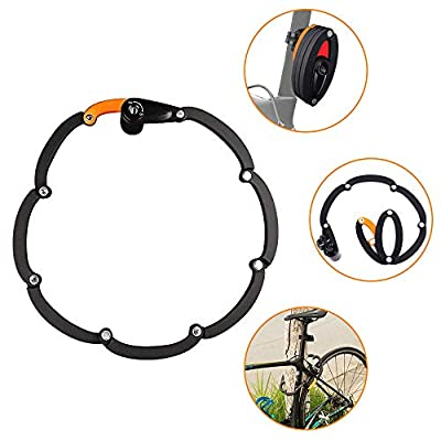 """WOTOW Bike Foldable Lock, Bicycle Folding Lock Collapsible Metal Chain Cable Safety Lock with 3 Keys with Storage Mounting Bracket Reflective Sticker for Mountain Road City Bike Unfolds to 35""""/90cm"""