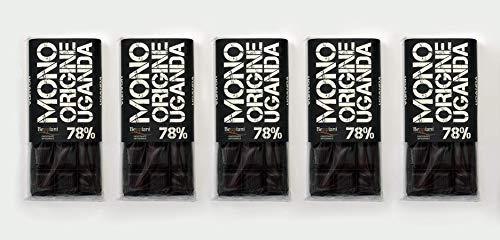 Beppiani - Tavolette di CIOCCOLATO FONDENTE Extra - MONORIGINE 500 g - Uganda - CIOCCOLATO ARTIGIANALE – Set da 5 tavolette – MADE IN ITALY (Fondente 78%)
