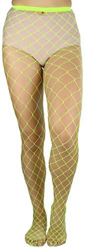 ToBeInStyle Women's Chic and Fun Industrial Diamond Net Spandex Pantyhose- Neon Yellow