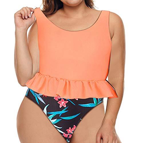 Women Plus Size Swimsuit Two Piece High Waist Bikini Set Halter Bottom with Top