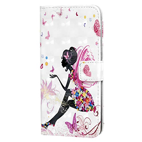 Shukukan Huawei P30 Cases, 3D Leuke Patroon Stickers Portemonneehoesje PU Lederen Beschermende Flip Cover Folio Stand Notebook Ontwerp Telefoon Holster met Kaarthouders Geld Clip voor Huawei P30 Vlinder Fee
