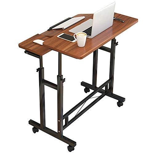 JiaQi Overbed Table Medical Adjustable,Mobile Computer Desk with Wheels,Hospital Laptop Table for Studying Reading Breakfast Table-b 60x40cm 24x16inch