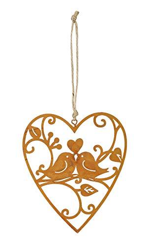 levandeo Schild Herz 10x12cm Gartendeko Vogel Liebe Türschild Edelrost Wandbild Rostdeko Deko Rost Gartenschild Geschenkidee