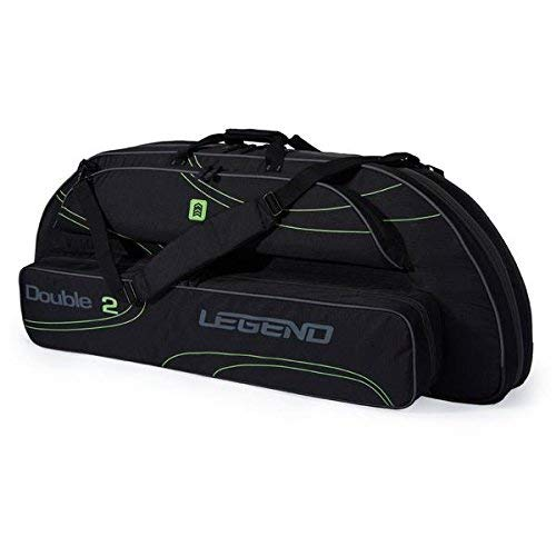 Legend Double2 Compound Bow Case for Two Bows - Archery Carry Bag with Protective Padding - Ripstop Nylon - Fits MTM Arrows Case, Hunting Accessories and Supplies (Black/Green)