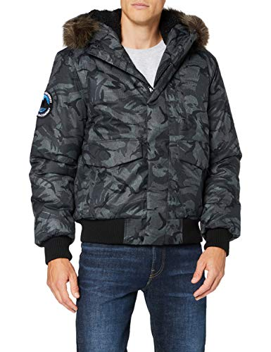 Superdry Mens Everest Bomber Parka, Grey Camo, XX-Large