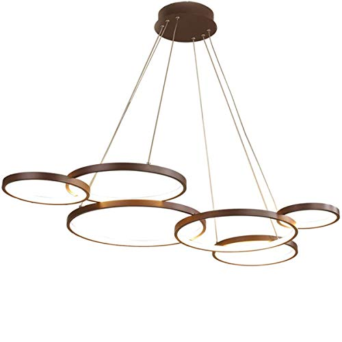 Lámpara colgante LED para mesa de comedor, 6 focos, altura regulable, lámpara para salón, regulable con mando a distancia, moderna, redonda, de aluminio, 100 cm de altura, 120 cm de diámetro