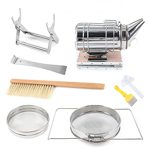 7 Pcs Bee Kit, Imker Edelstahl-Smoker, Edelstahlfilter, Multifunktionswerkzeug, Imkereibedarf Einsteiger-Set
