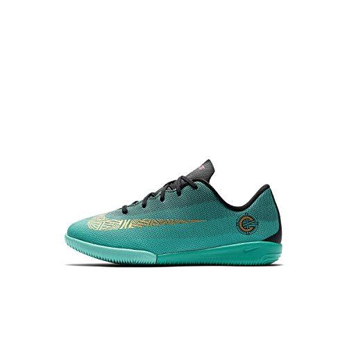 Nike Jr. MercurialX Vapor XII Academy CR7 IC Interior Niño 30 bota de fútbol - Botas de fútbol (Interior, Niño, Unisex, Suela para interiores, Negro, Oro, Turquesa, Monótono)